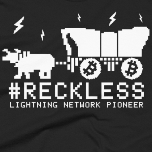 RECKLESS Bitcoin Lightning Network Pioneer T-Shirt