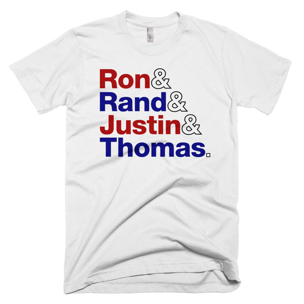Liberty's Fab Four - Ron Paul, Rand Paul, Justin Amash & Thomas Massie - Red, White & Blue T-Shirt