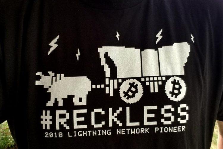Bitcoin #RECKLESS Lightning Network Pioneer T-Shirt